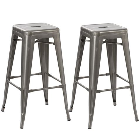 steel bar stools contemporary btexpert solid steel stackable industrial rustic