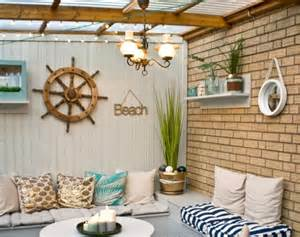 Beach Patio Decor by Nautical Beach Patio Makeover Before And After Pictures