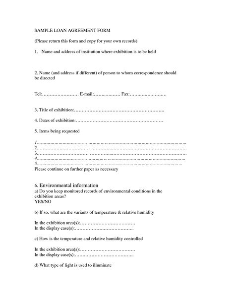 Free Credit Agreement Forms Free Printable Loan Agreement Form Form Generic