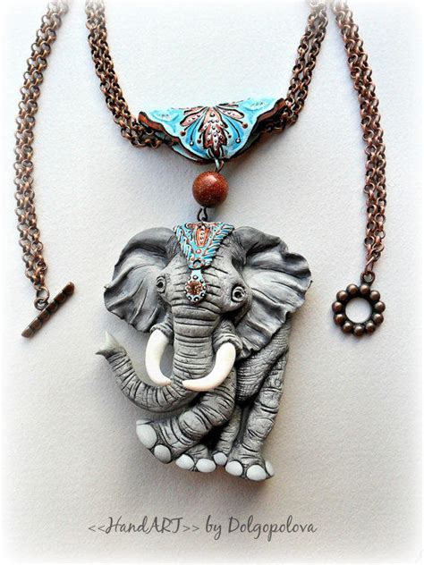 Polymer Clay Necklace With An Elephant From