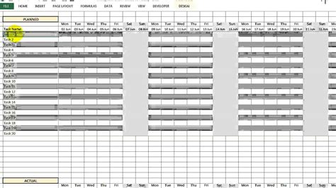 Video 00099 Gantt Chart Planned Vs Actual Youtube Planned Vs Actual Gantt Chart In Excel Template