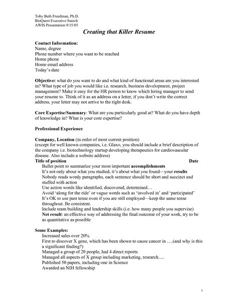 Killer Resume Templates by Killer Resume Sles Free Resumes Tips