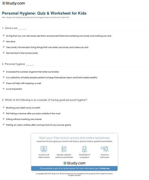 personal hygiene quiz worksheet for study