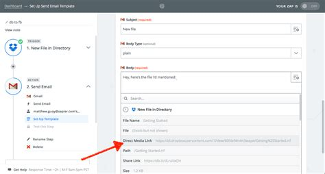 dropbox zapier how to create dropbox download link