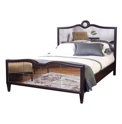 mirrored king bed greyson espresso lux mirrored hollywood regency king bed kathy kuo home