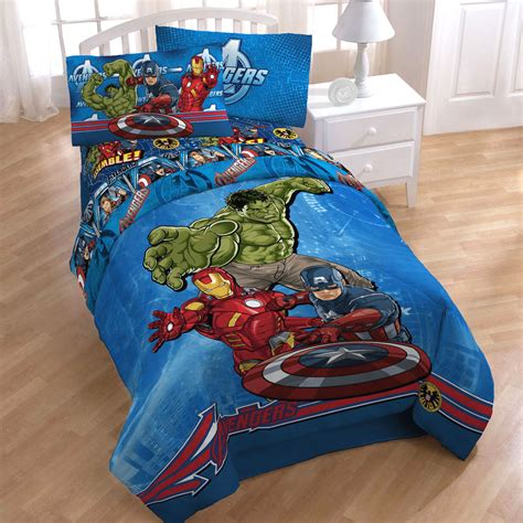 avengers bed set 4pc marvel comics avengers twin bed in bag captain america hulk bedding set ebay