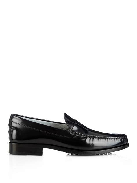 s loafers black lyst tod s leather loafers in black for