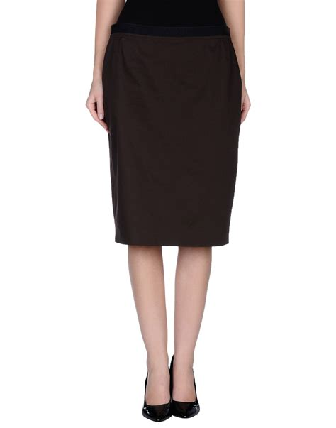 metradamo knee length skirt in brown lyst