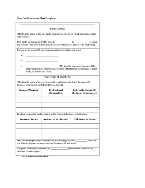 nonprofit business plan template free download plan template