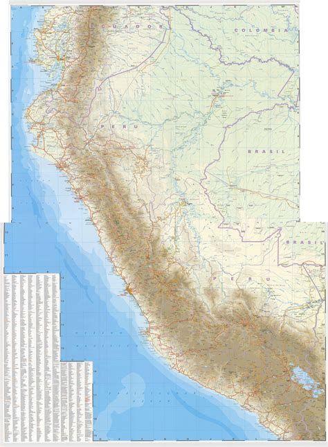 america map high resolution high resolution road map of peru with all cities peru