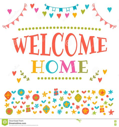 welcome home text with colorful design elements greeting