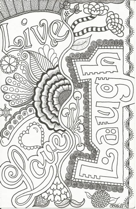 love coloring pages for adults live love laugh doodle by plhill