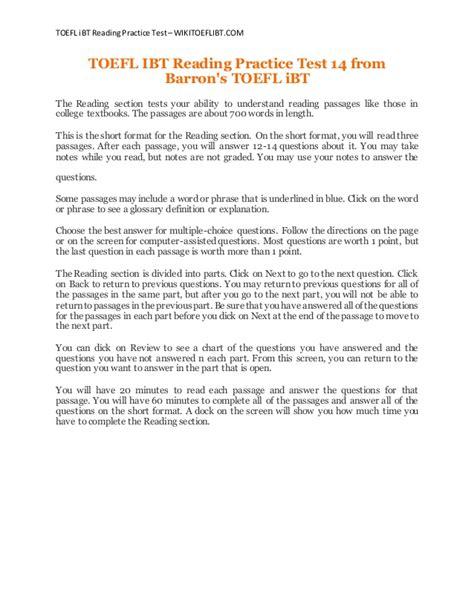 reading section toefl ibt practice toefl ibt reading practice test 14