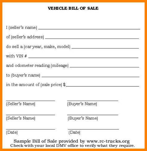 Bill Of Sale Form Template Vehicle Printable Site Provides Various Exle Template Of Free Bill Of Sale Form Nc Template