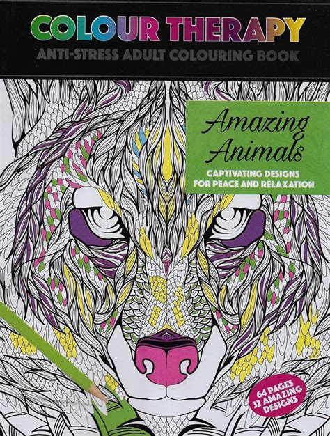 colour therapy anti stress colouring book uk wholesale bulk colour therapy amazing animals book