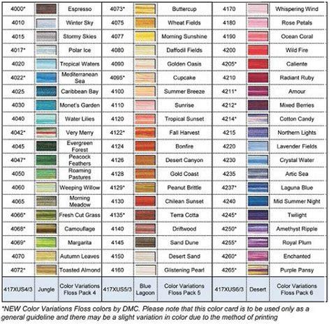 dmc color chart dmc colour variations 6 stranded thread range 60 colours