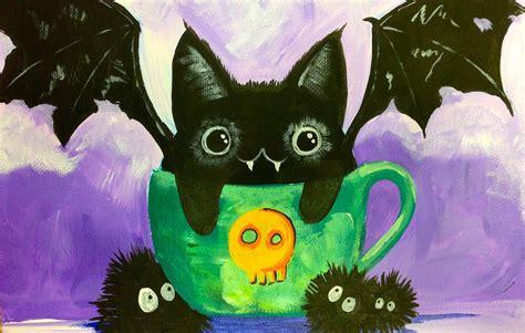 Acrylic Cat black cat bat kawaii easy acrylic painting the