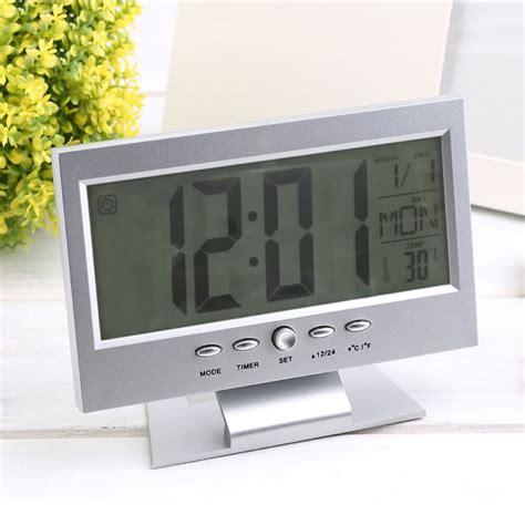 jam weker alarm meja led calendar temperatur clock black jakartanotebook