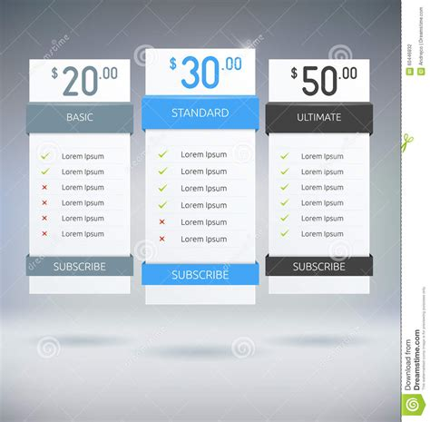 Web Design Pricing Tables Template Vector Mock Up Royalty Free | pricing tables stock vector illustration of column price