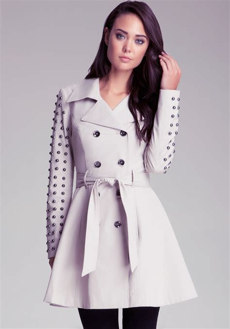 Flared Sleeve Trench Mango bebe studded sleeve flared trench in gray lyst