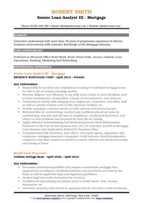 Loan Analyst Sle Resume by Loan Analyst Resume Sles Qwikresume