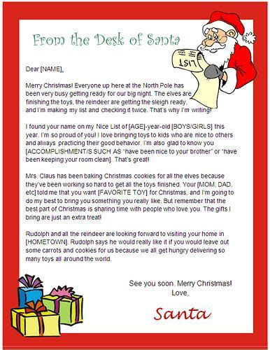 Santa Letter Template Word printable letter from santa template new calendar