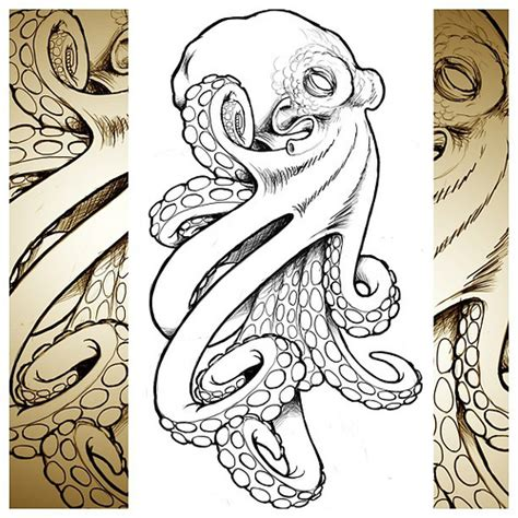 tattoo flash painting techniques cool octopus i whipped up for a client tattoo technique