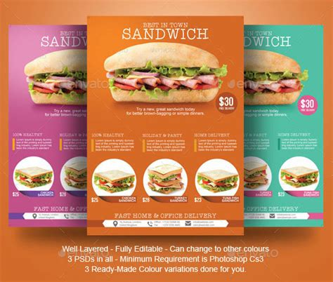 sandwich flyer template by blogankids graphicriver