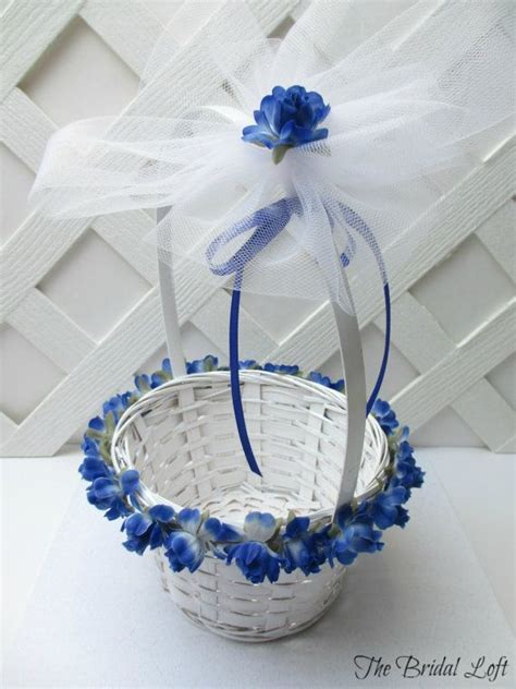 Royal Blue Rose Flower Girl Basket, Cobalt Blue Wedding