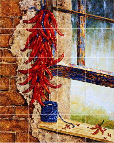 chili pepper tile backsplash house ideas tile murals stove and pepper