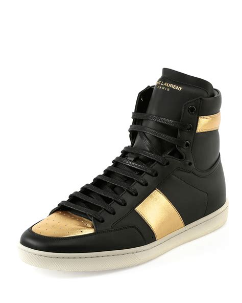 black and gold mens sneakers laurent sl 18h leather high top sneaker in metallic