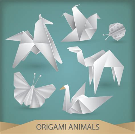 Origami Animals - various origami animals design vector material 05 vector