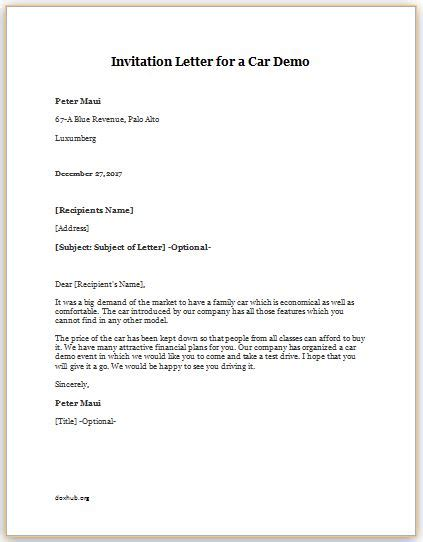 Demo Agreement Template Invitation Letter For A Car Demo Template Document Hub