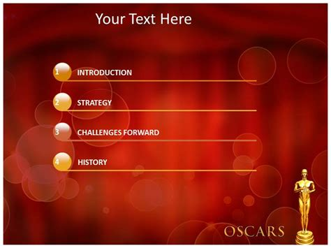 Oscar Award Ppt Templates Powerpoint Themes Backgrounds Awards Presentation Template