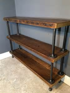 reclaimed wood shelf shelving unit with 3 shelfs