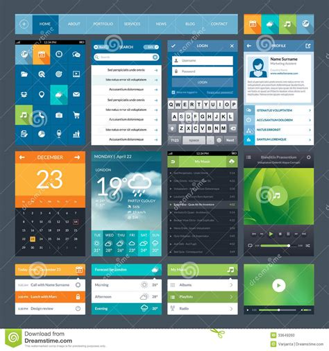 design elements for apps set of flat design ui elements for mobile app and stock