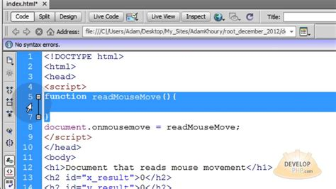 html javascript tutorial youtube read mouse coordinates position x and y javascript