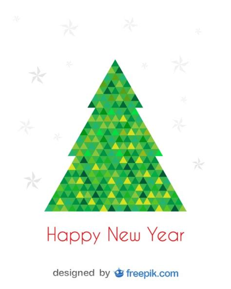 triangle tree happy new year greeting card of tree done with
