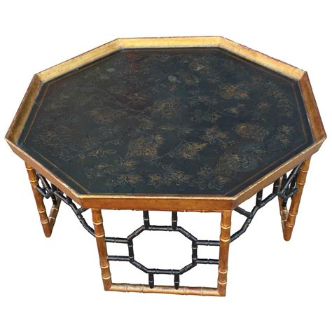 italian faux bamboo gold leafed tray coffee table