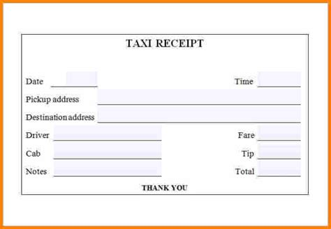 template receipt doc or odf 4 taxi bill format doc simple bill