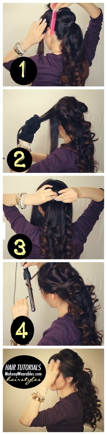 hairstyles for curly medium hair step by step easy fancy looking curly half up hairstyle long hair
