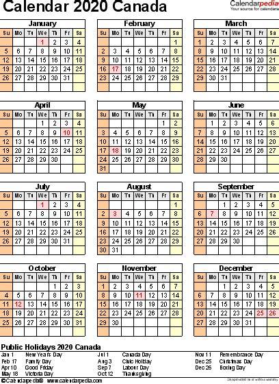 calendar canada printable year calendar
