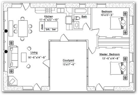 planos de casas con patio central vivienda de 2 dormitorios y patio central