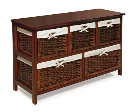 Basket Storage Furniture by Five Basket Storage Unit With Wicker Baskets The Frog