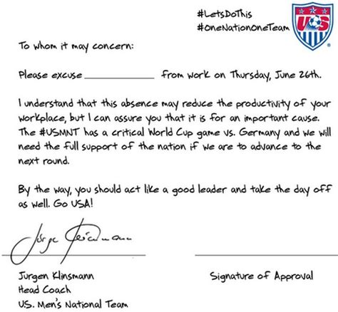 Parent Consent Letter For Work On Mcdonalds If This Note Doesn T Convince Your To Let You The U S Soccer Nothing Will