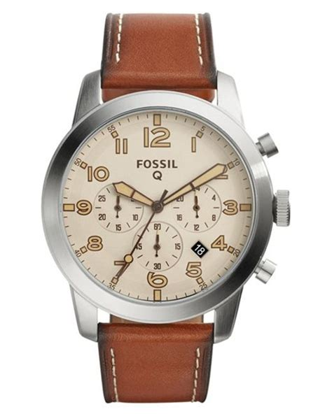 Fossil Chrono Stopwatch Silver Chain fossil q pilot chronograph leather smart in silver for brown beige lyst