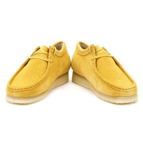 yellow shoes clarks originals mens wallabee shoes ocher suede yellow