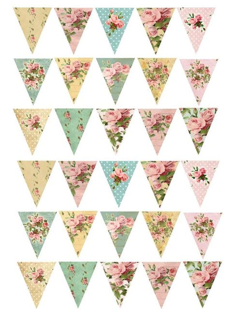 30 shabby chic bunting floral rose cake cupcake rice paper