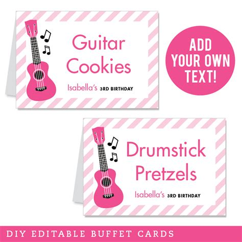 instant card downloads pink rock editable buffet cards instant