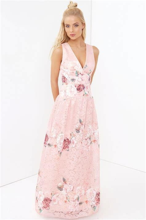 Maxi Lace Flower pink floral lace maxi dress from uk